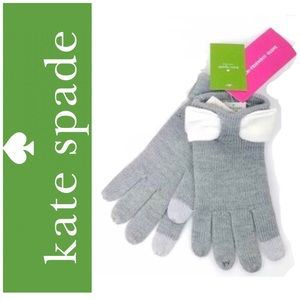 Kate Spade ♠️ Heather Grey Gloves with Bow